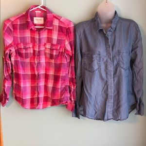 Tops - Button Up Shirt Bundle Denim & Pink Plaid M